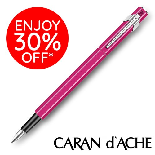 Stylo plume Caran D'Ache '849', avec pointe moyenne - Fluo Rose (pink)